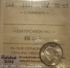 Canada George VI 1937 Rotated Dies Silver Ten Cents - ICCS MS-65