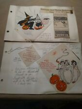 Early halloween paper napkins in scrapbook pages.1924-27 Christmas napkin Ohio