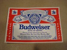Budweiser Beer Label - Labatt Brewing - Canada