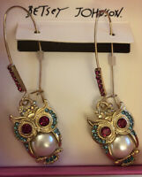 Betsey Johnson Gold Tone Faux Pearl Pave Owl Drop/Dangly Earrings NWT