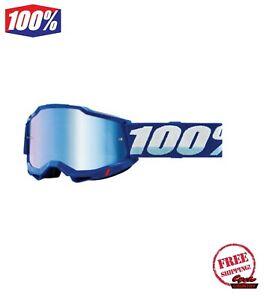 100% ACCURI GEN 2 MEN'S DIRT MX OFFROAD GOGGLE BLUE WITH BLUE MIRROR