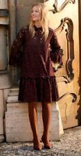 2018 Trend H&M Short Flounce Burgundy Wide Lace Dress L BNWT Blogger