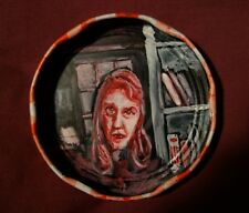 SYLVIA PLATH, Jam Jar Lid Portrait, Poetry, Outsider Folk Art by PETER ORR