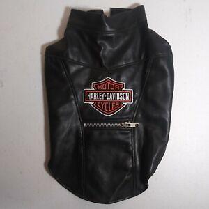 Harley Davidson Dog Faux Leather Biker Jacket/Vest Size Small Zip Pocket S