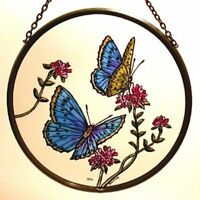 Decorative Winged Heart Hand Painted Stained Glass Roundel - Blue Butterflies
