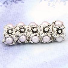 5pcs Silver Pearl Flower Spacer Stopper big Bead  Fit European Charm Bracelet