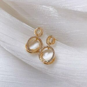 Charm Round Oval Crystal Gold Earrings Ear Stud Drop Dangle Women Jewelry Gifts