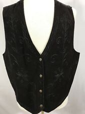 AGAPO COLLECTION Womens Genuine Leather VTG Vest 3X Brown Embroidered Medallion