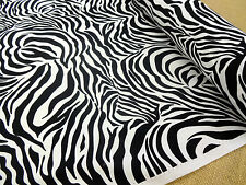 PRINTED COTTON  FABRIC +++ SAFARI +++ BLACK & WHITE ZEBRA
