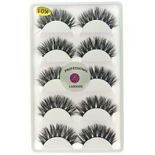LASGOOS Real Mink 3D False Eyelashes Cross Natural Handmade Wispy Eyelash Makeup