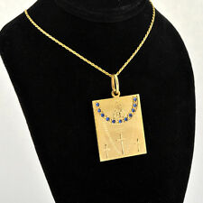 Handcrafted 14 K Gold Jesus The Teacher Medal / Pendant Accents Blue Sapphires