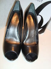 Nine West New Womens Escher Black Leather Open Toe Heels Shoes 9.5 Medium