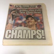 New York Post: Feb 6 2012, Giants Stun Pats, Win Super Bowl Champs!