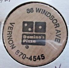DOMINO'S PIZZA & HOT STUFF TATTOO WOODEN NICKEL TOKEN VERNON,ROCKVILLE, CT.