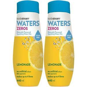 2 x SodaStream Sugar Free Syrup 440ml, Flavoured Sparkling Water - Zero Lemonade