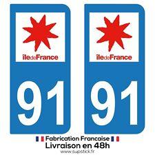 2 STICKERS AUTOCOLLANT PLAQUE IMMATRICULATION DEPT 91 Région île-de-France