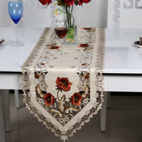 White Embroidered Lace Cutwork Table Runner Wedding Valentine's Day Home Decor