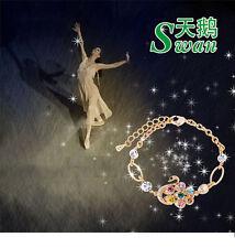 Fashion Women SHINY SWAN BLING JEWELRY Pendant Bracelet  Bangle Chain-UK stock