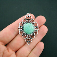 2 Brooch Connector Charm Antique Silver Tone With Faux Turquoise - SC6017