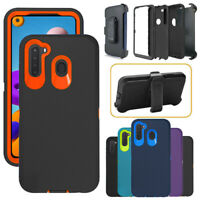 For Samsung Galaxy A21 Case Hybrid Rugged Phone Cover Holster Belt Clip Stand