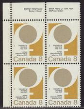CANADA #668 8¢ International Women's Year UL Inscription Block MNH