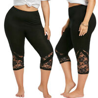 Womens Ladies 3/4 Length Lace Trim Edge Cropped Jog Trousers Jeggings Leggings