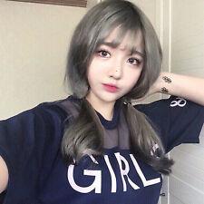 Korea Sweet girl Caesious Medium Straight Natural fluffy air bangs Wig Hair