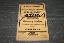 ANCIEN CATALOGUE POUR L'ENSEIGNEMENT ANALIS DE 1938.