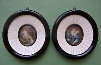 paire de miniatures - anne d'autriche et madame de récamier signé