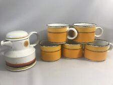 SET OF 5 RETRO MID CENTURY MIDWINTER SUN STONEHENGE COFFEE MUGS With TEAPOT