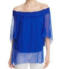 ELIE TAHARI Calliope 100% Silk Blouse Women XS Blue Summer Top Off Shoulder 2704