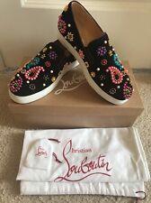 NIB CHRISTIAN LOUBOUTIN  Boat Candy Flat Velour Sneaker Loafers Shoe 37.5 $1345