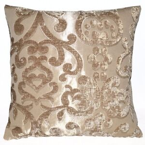 vb10a Light Brown Flower On Pale Brown Gold Thick Cotton Blend Cushion Cover