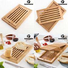 Tabla de madera Bambú para Cortar Pan 38x24x2 cm,superficie para recoger migas