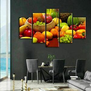 Fresh Vegetables Kitchen Fruit 5 Panel Canvas Print Poster Wall Art Home Decor