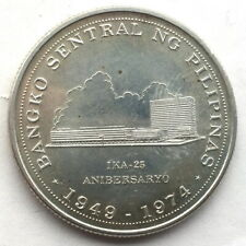 Philippines 1974 Central Bank 25 Piso Silver Coin,UNC