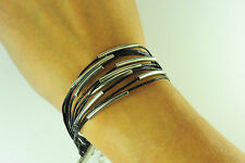 LADIES CHUNKY BLACK SILVER ROPE CONTRAST BRACELET UNIQUE STUNNING (CL9)