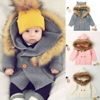 Toddler Baby Boys Girls Fur Coats Knitted Tops Warm Coat Sweater Pockets Gift