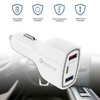QC3.0 Car Charger Type-C Dual USB2.0 DC 35W Mobile Phone Fast Charging Adapter