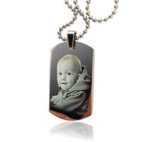 Photo Engraved Military Dog Tag Personalised Necklace Pendant Valentines gift