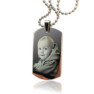 Pendant & Necklace Photo engraved Dog Tag, Stainless Steel, Father's day Gift