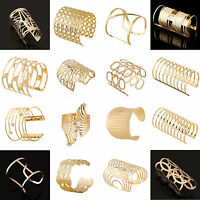 Women Fashion Jewelry Gold Geometric Hollow Punk Retro Cuff Bangle Wide Bracelet