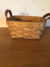 Lower Price Longaberger 2003 Tea Basket With Two Leather Loops