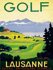SPORT GOLF LAUSANNE SWITZERLAND GREEN FAIRWAY ALPS ART PRINT POSTER CC2062