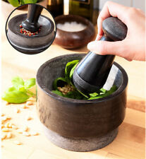 Double-Sided Grinding Natural Granite Pestle & Mortar Grinder Spice Herb Crusher