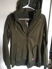 Womens Under Armor soft shell waterproof hooded green long jacket size small