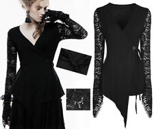 Asymmetric Victorian Steampunk Wrap Top Gothic Lolita Burlesque Lace PunkRave Bk