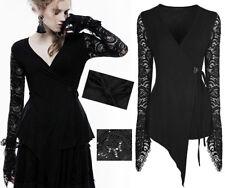 Asymmetrical Victorian Steampunk Wrap Top Lace Gothic Lolita Glam PunkRave Bk