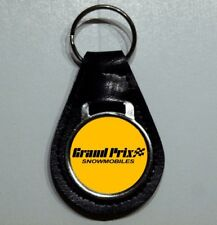 Reproduction Vintage Grand Prix by Boatel Logo Medallion Leather Keychain