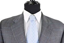 Luciano Barbera Suit Sz 44L In Gray W/ Bold Blue POW Plaid FF Pants Side Vents